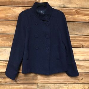 blue double breasted lined jacket
